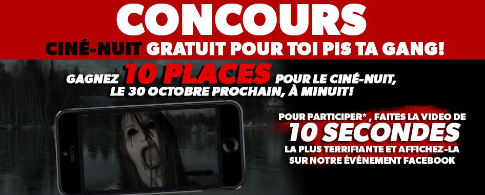 CONCOURS: CINÉNUIT GRATUIT POUR TOI PIS TA GANG!! OCTOBRE 2015